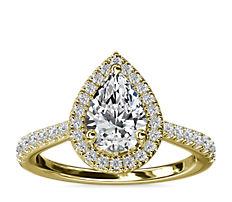 Pear Diamond Bridge Halo Diamond Engagement Ring in 14k Yellow Gold (1/3 ct. tw.)