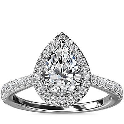 新款鉑金梨形鑽石橋飾光環鑽石訂婚戒指 (1/3 克拉總重量)