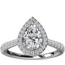 Pear Diamond Bridge Halo Diamond Engagement Ring in Platinum (1/3 ct. tw.)