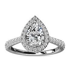鉑金梨形鑽石橋飾光環鑽石訂婚戒指(1/3 克拉總重量)