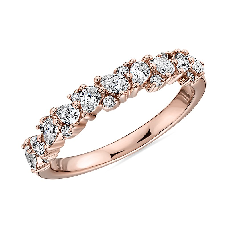 Pear Diamond Cluster Wedding Ring in 14k Rose Gold- I/SI2 (1/2 ct