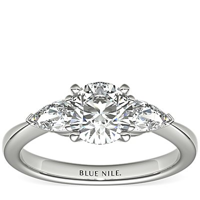 Classic Pear Shaped Diamond Engagement Ring in Platinum (1/2 ct. tw.)