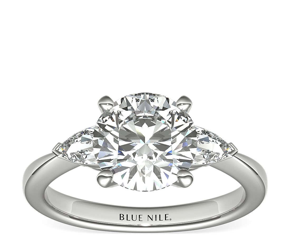 2.01ct.RD in Pear-Shape Diamond Engagement Ring Setting for Larger Diamonds in Platinum (1/2 ct. tw.)