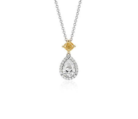 teardrop filigree shaped pendant with uneek center bezel in double necklace chain by platinum and accent diamond halo pear