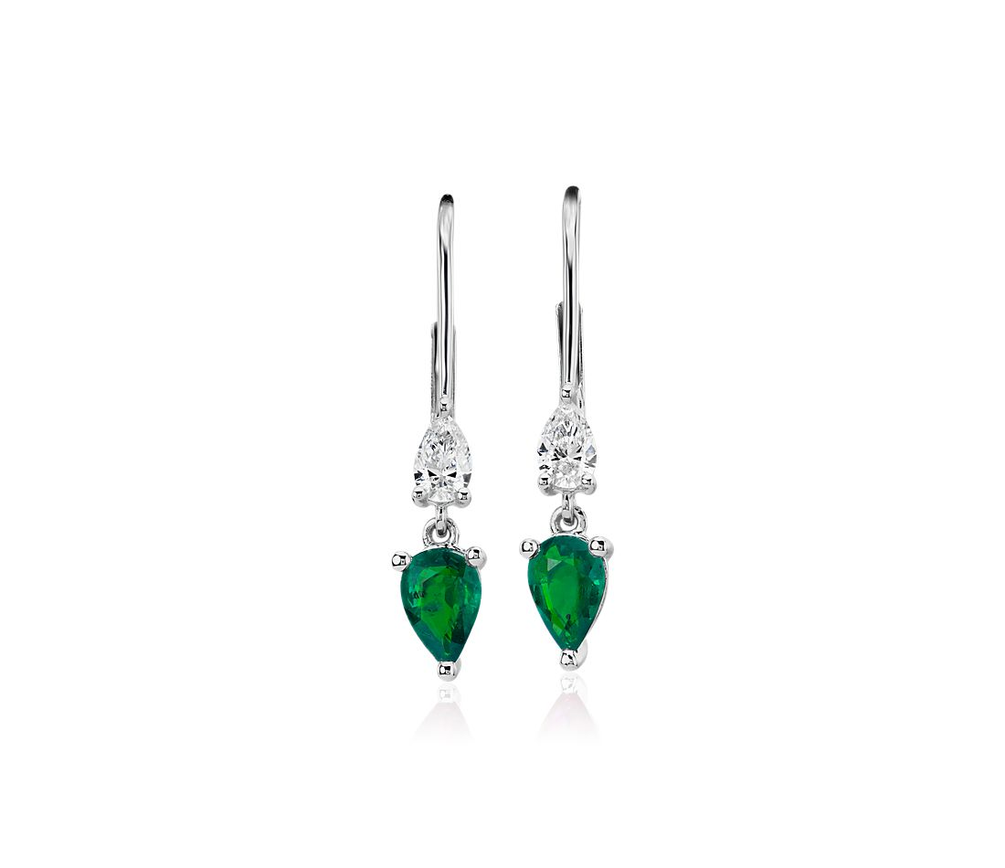 Pear-Shaped Emerald and Diamond Drop Earrings in 14k White Gold (4x6mm)
