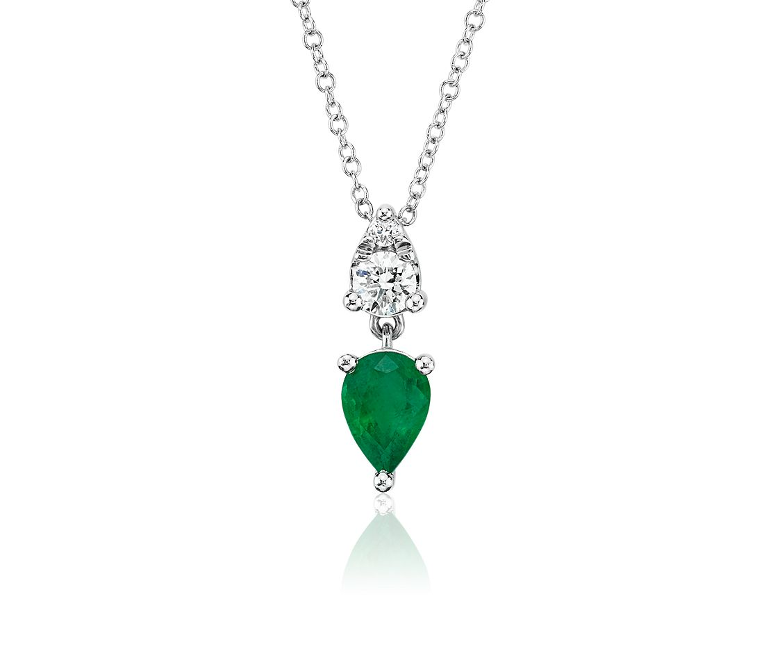 Pear-Shaped Emerald and Diamond Drop Pendant in 14k White Gold (7x5mm)