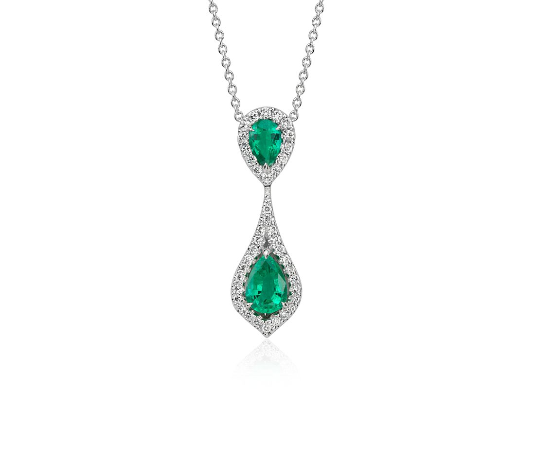 Pear Shape Emerald and Diamond Pendant in 18k White Gold (7x5mm)