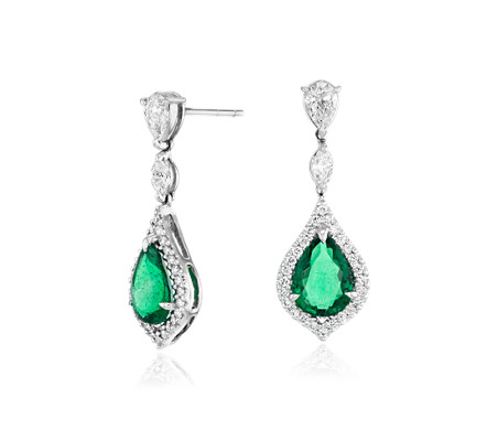 Elegant Pear-Shaped Emerald and Diamond Drop Earrings in