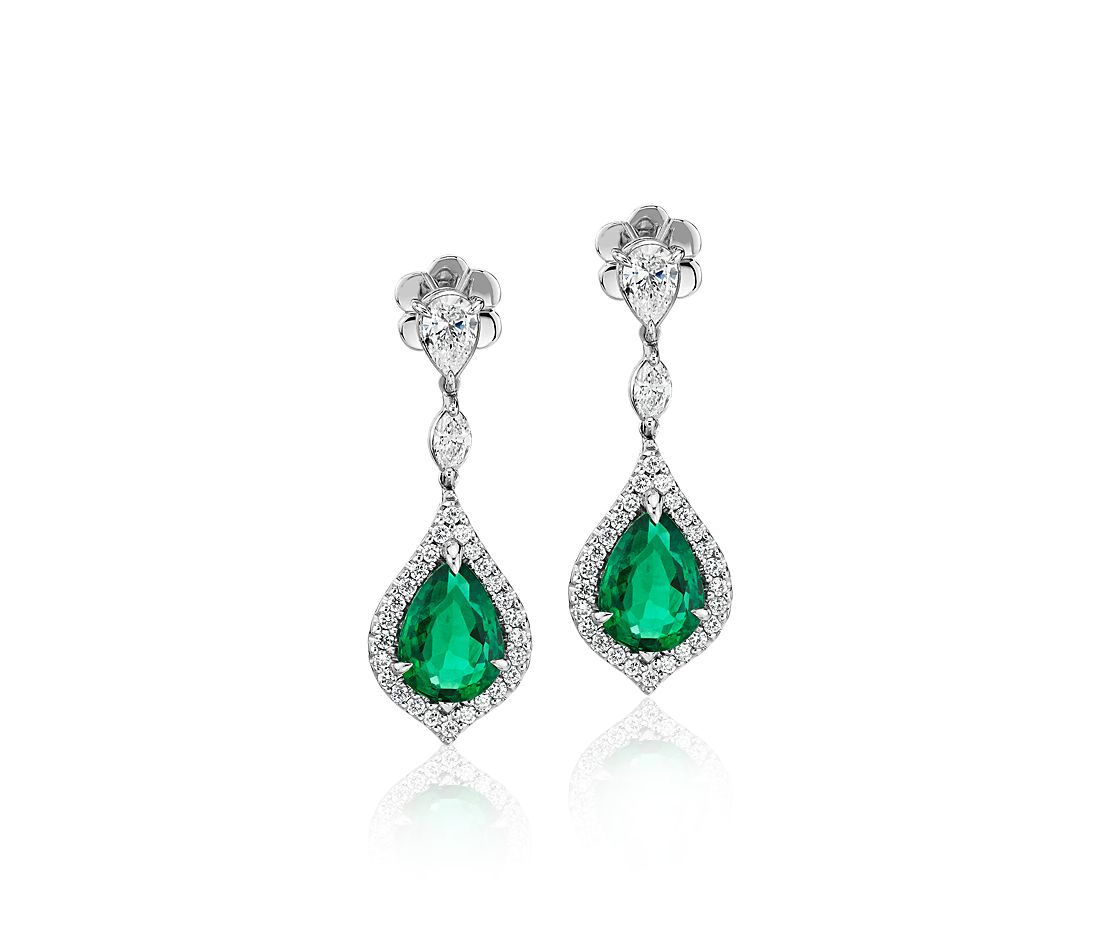 Elegant Pear-Shaped Emerald and Diamond Drop Earrings in 18k White Gold (9x7mm)