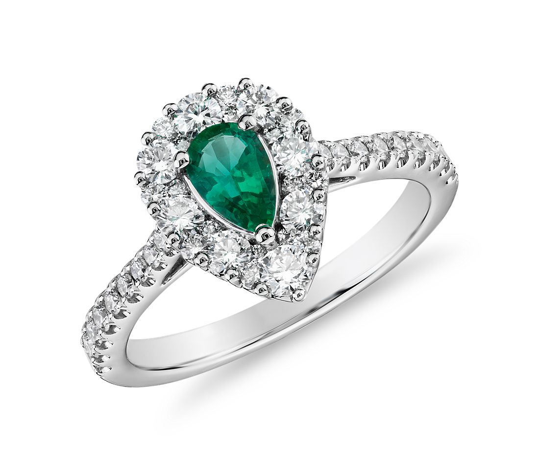 Pear Emerald Ring with Diamond Halo in 14k White Gold (6x4mm)