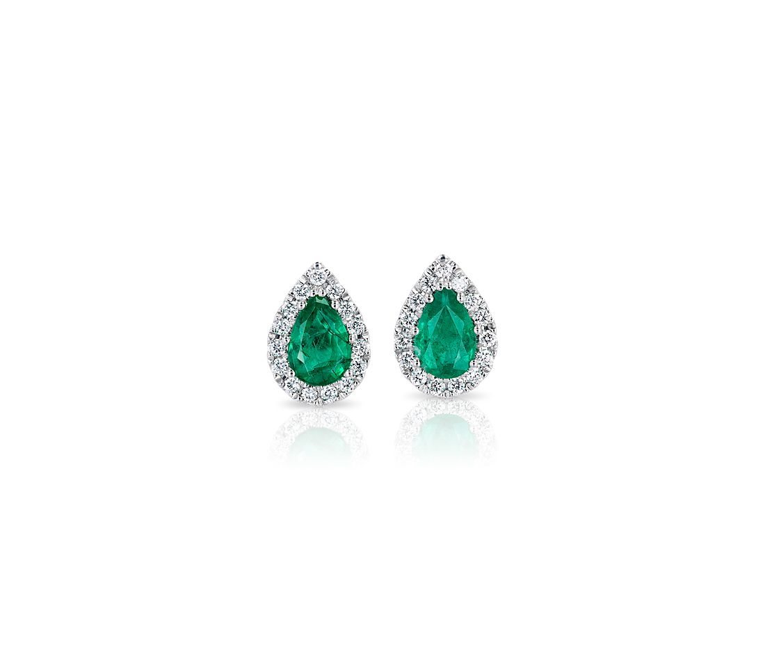 3327a8027 Pear-Shaped Emerald Stud Earrings with Diamond Halo in 14k White Gold  (6x4mm) | Blue Nile