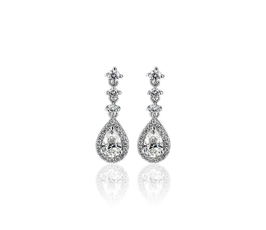 Pear Halo Drop Earrings in 14k White Gold (0.98 ct. tw.)