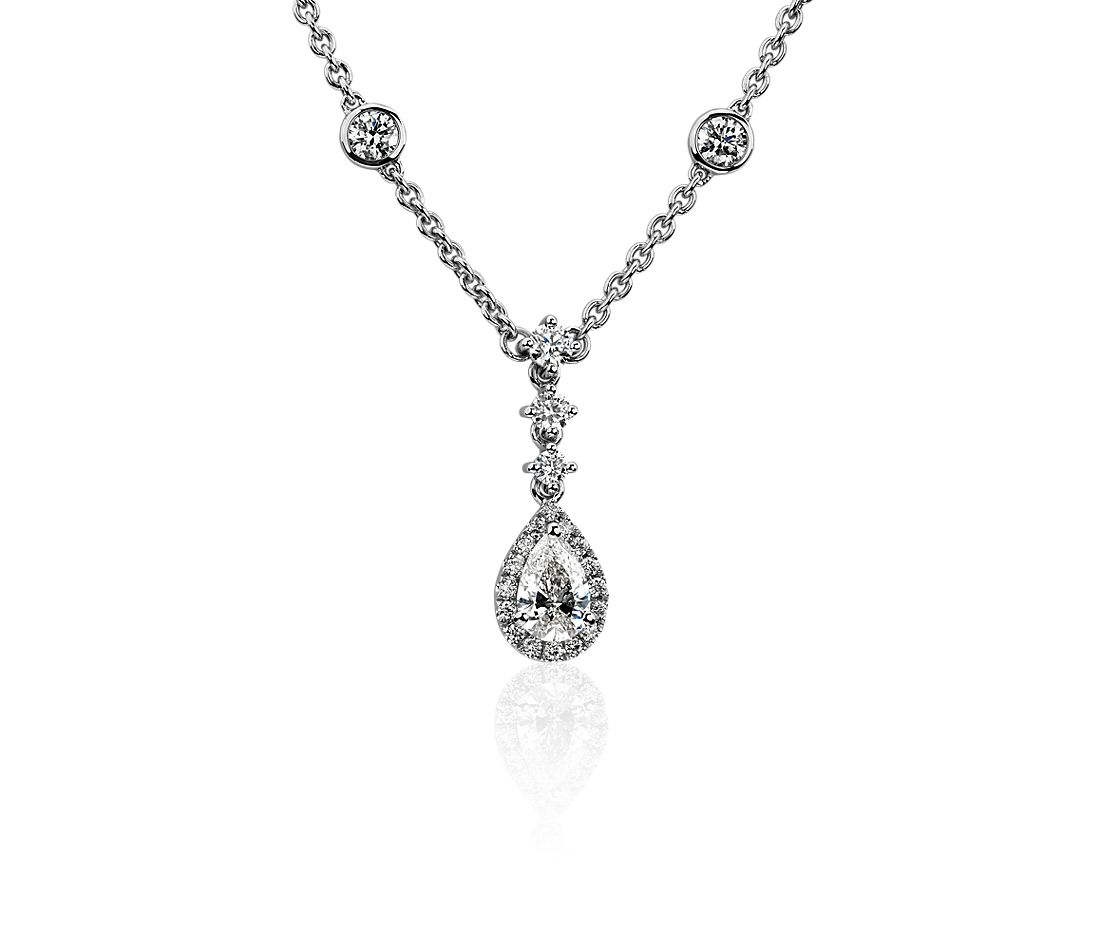 Pear Halo Necklace in 14k White Gold (3/4 ct. tw.)