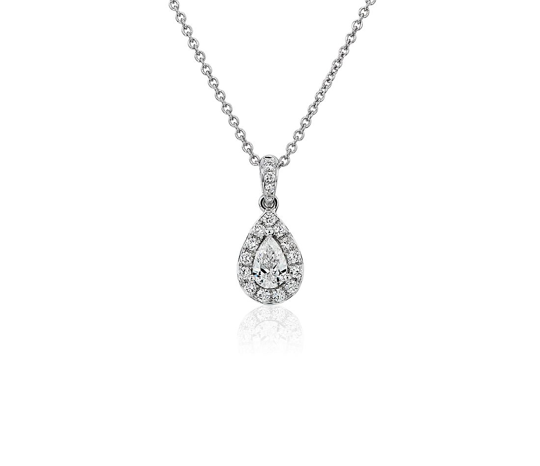 Pear Halo Pendant in 14k White Gold (1/2 ct. tw.)