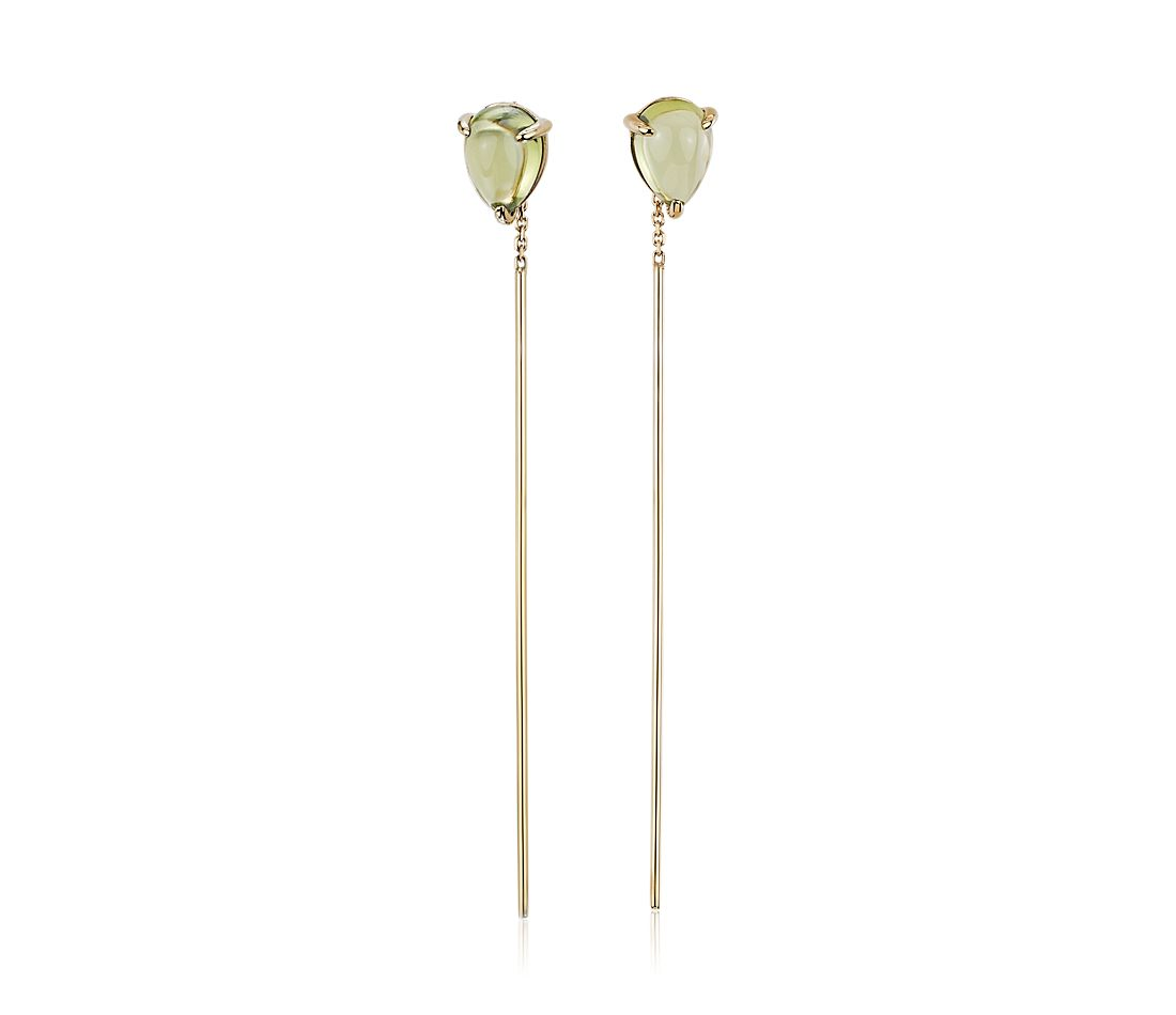 Pear-Shaped Peridot Threader Earrings in 14k Yellow Gold (7x5mm)