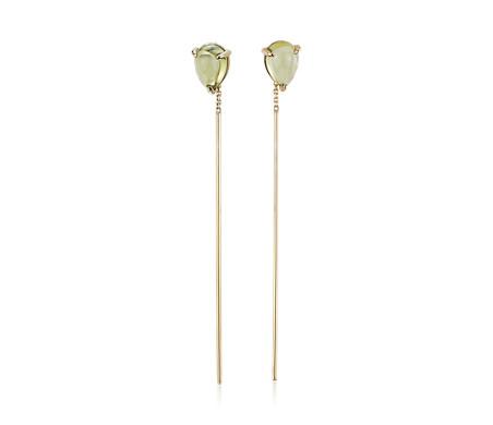 14k 金梨形橄榄石螺纹耳环<br>(7x5毫米)