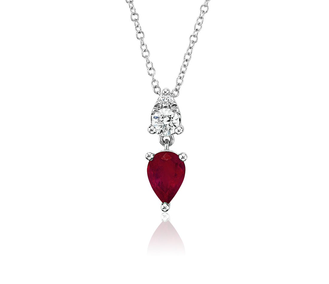 Pear-Shaped Ruby and Diamond Drop Pendant in 14k White Gold (7x5mm)