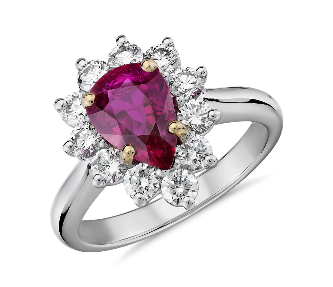 Pear-Shaped Ruby and Diamond Starburst Halo Ring in Platinum