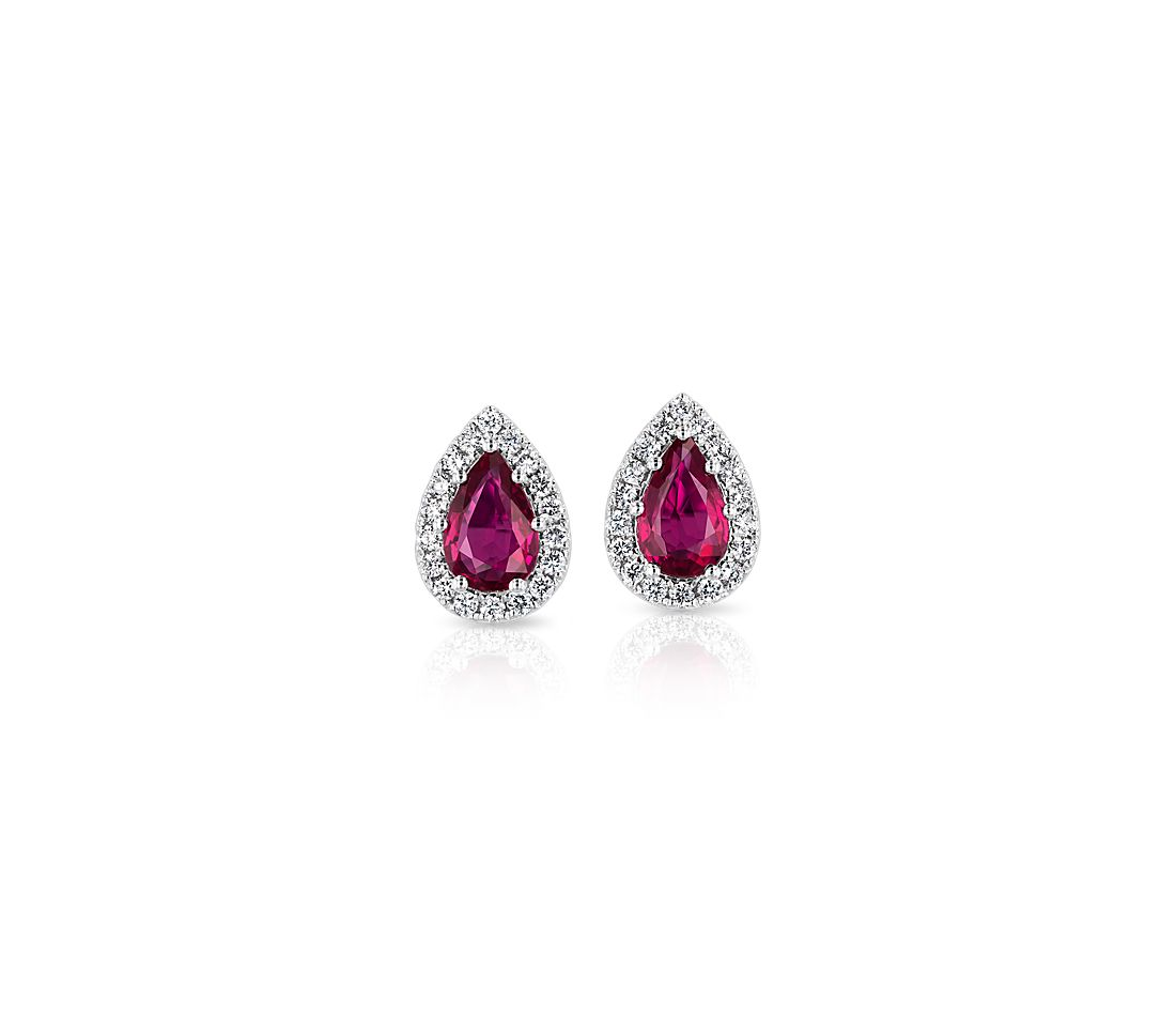 Pear-Shaped Ruby Stud Earrings with Diamond Halo in 14k White Gold (6x4mm)