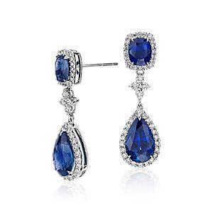 Pendants d'oreilles diamant et saphir en or blanc 18carats (8,21 cts)<br>(11x7mm)