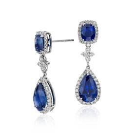 Sapphire and Diamond Drop Earrings in 18k White Gold (8.21 cts) (11x7mm)