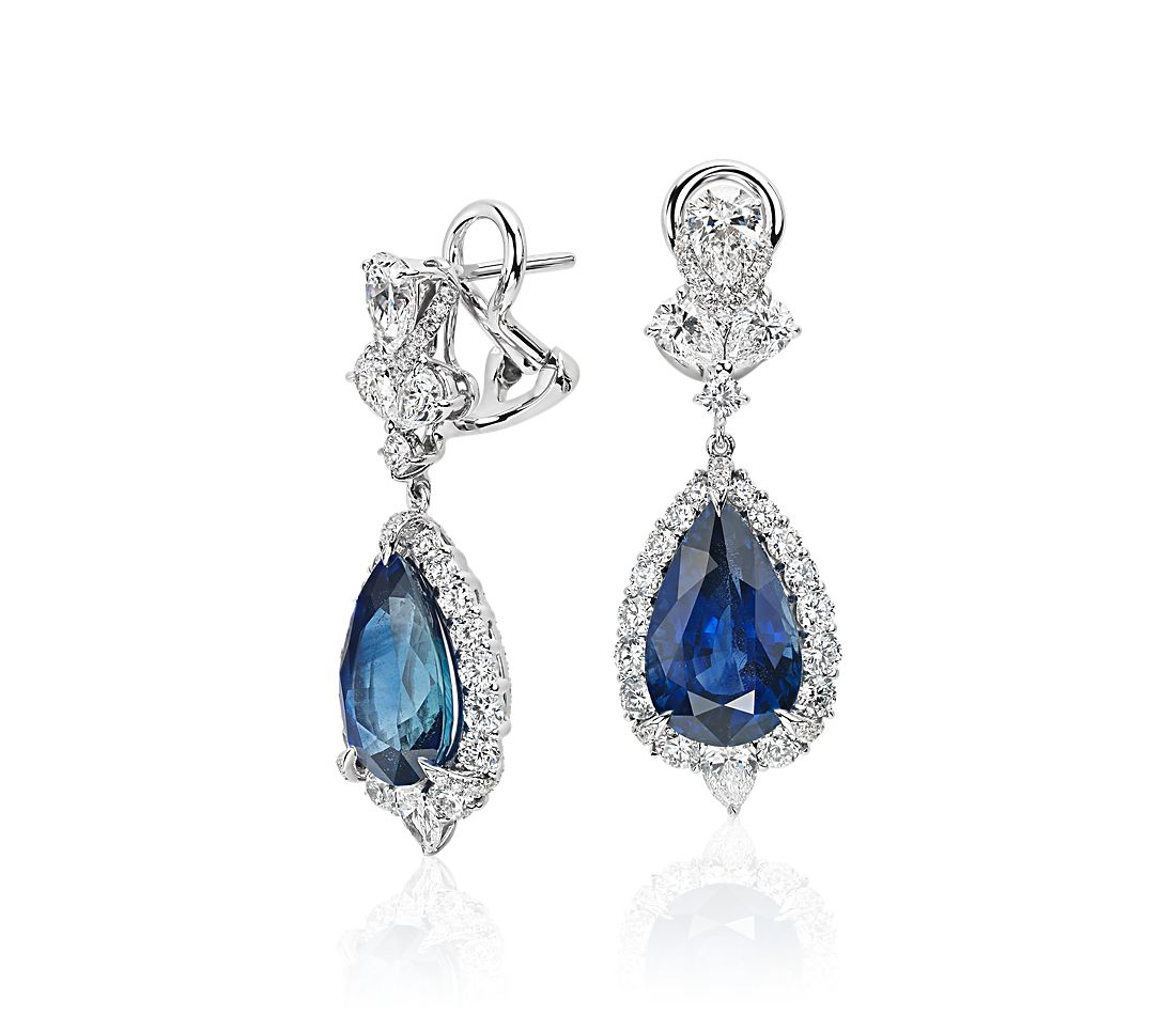 Pear Shape Sapphire And Diamond Drop Earrings In 18k White