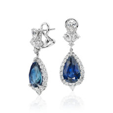 Pear Shape Sapphire and Diamond Drop Earrings in 18k White Gold