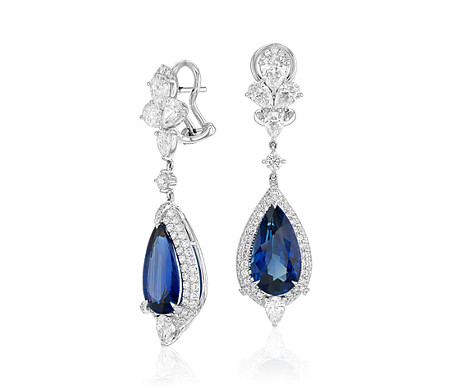Pear-Shaped Sapphire and Diamond Drop Earrings in 18k White Gold (13.6x7.3mm)