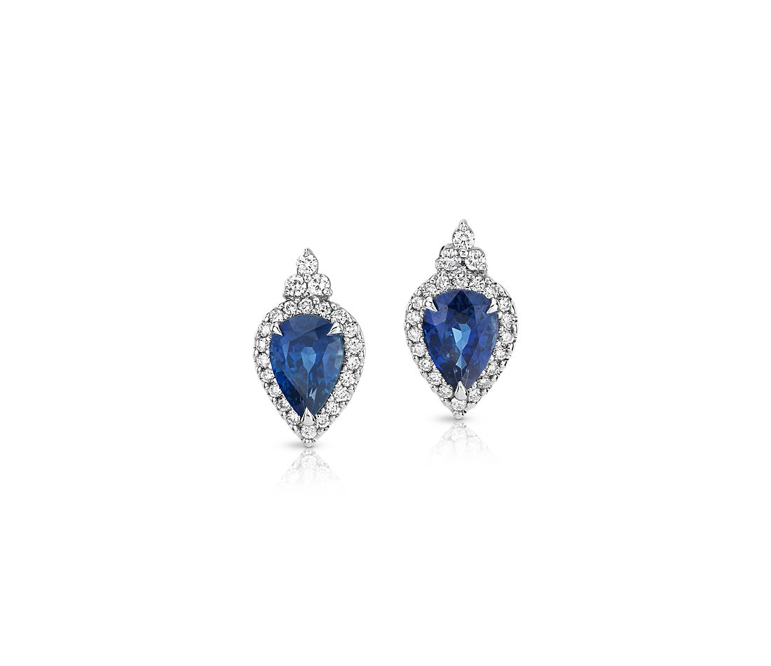 Pear-Shaped Sapphire Earrings with Talon Prongs and Diamond Halo in 18k White Gold (7x5mm)