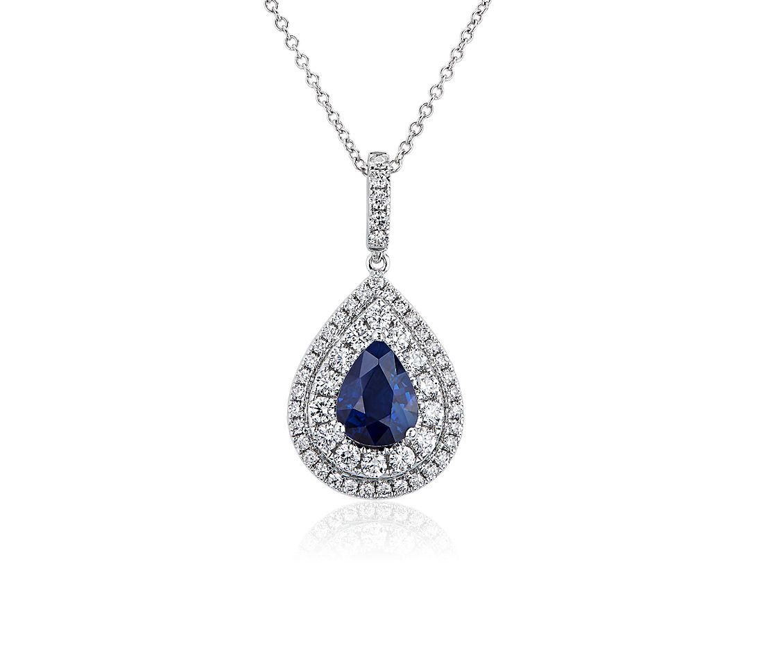Pear-Shaped Sapphire Pendant with Double Halo in 18k White Gold