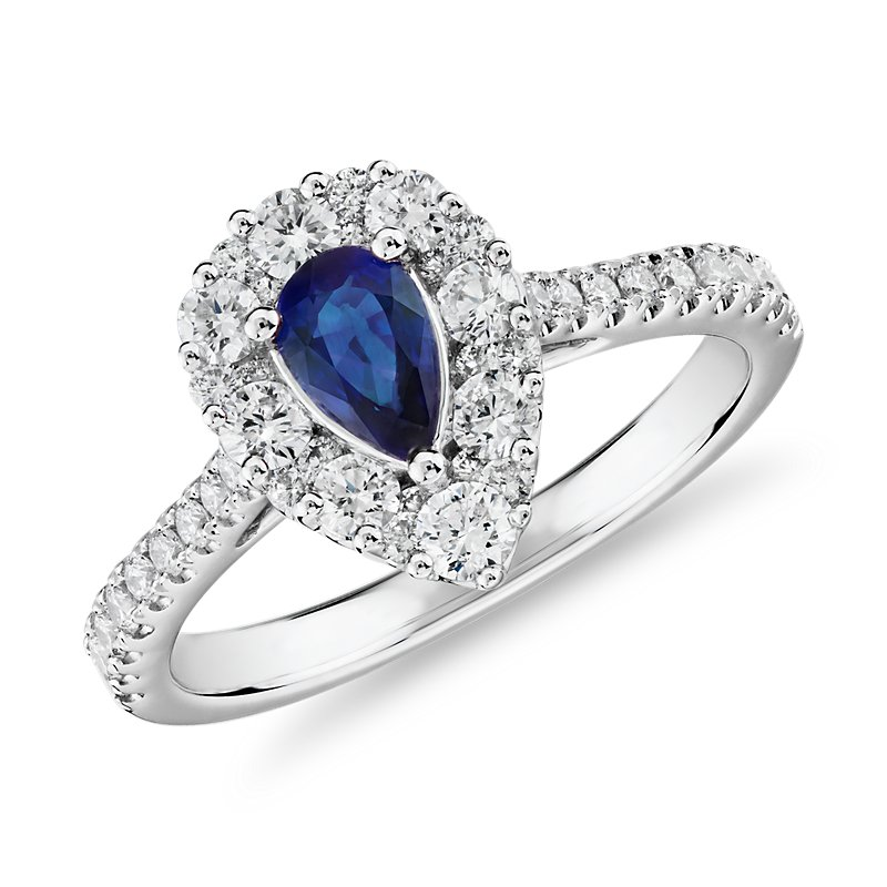 Pear Sapphire Ring with Diamond Halo in 14k White Gold (6x4mm)