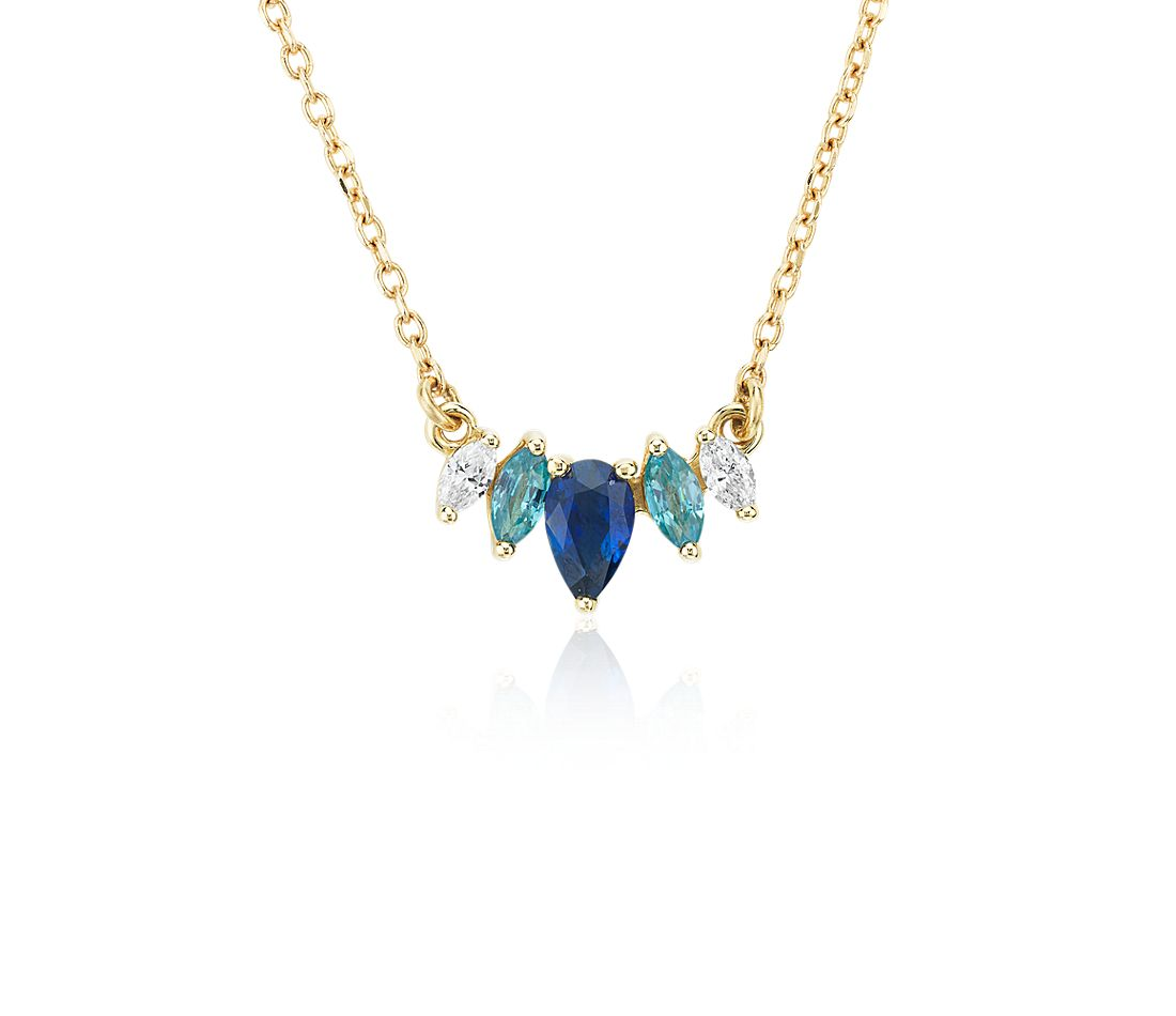 Multi-Gemstone Sapphire and Diamond Pendant