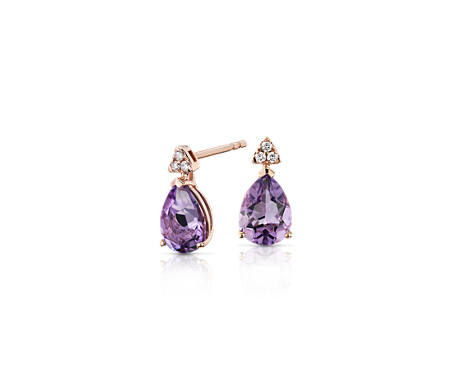 Pear-Shaped Amethyst Earrings with Diamond Trio in 14k Rose Gold (8x6mm)