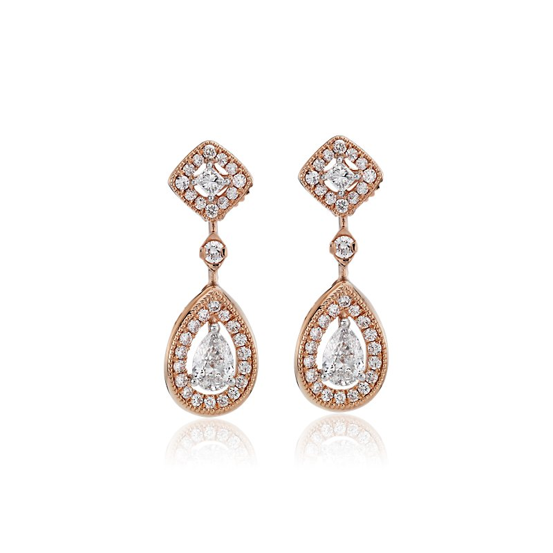 Pear-Shape and Princess-Cut Diamond Halo Drop Earrings in 14k Ros