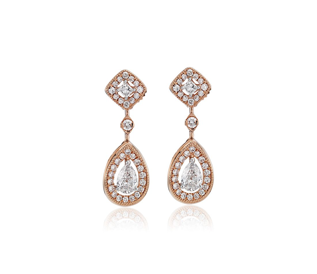 Pear-Shape and Princess-Cut Diamond Halo Drop Earrings in 14k Rose Gold (3/4 ct. tw.)