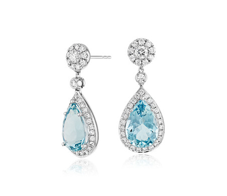 Pear-Shaped Aquamarine and Diamond Halo Drop Earrings in 18k White Gold