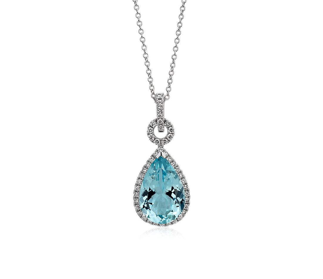 Pear Shape Aquamarine and Diamond Pendant in 18k White Gold