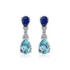Pear Shaped Aquamarine and Sapphire Drop Earrings in 18 White Gold