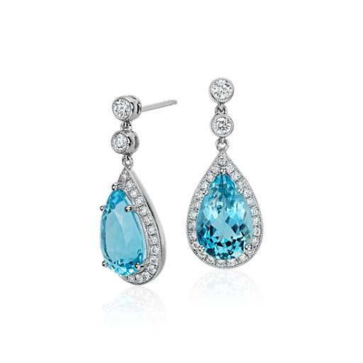 pearshaped aquamarine and diamond halo drop earrings in