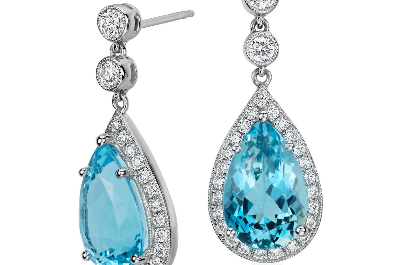 Boucles d'oreilles diamant Halo saphir et aigue-marine taille poire en or blanc 18carats (12x8mm)