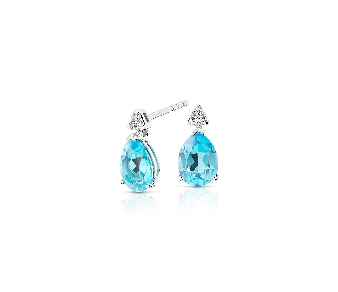 Pear-Shaped Blue Topaz Earrings with Diamond Trio in 14k White Gold (8x6mm)