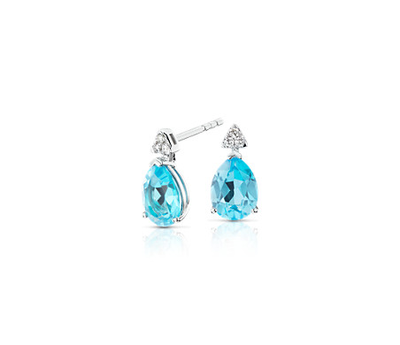 14k 白金 Pear-Shaped Blue Topaz Earrings with Diamond Trio<br>( 8x6 毫米)