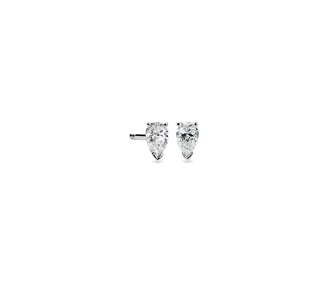 Pear Shape Diamond Stud Earrings in 14K White Gold