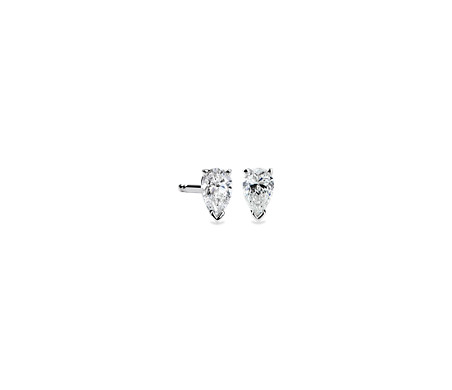 stud pear design own your gold white cut earrings four settings asscher shaped diamond prong p jewelry angle in