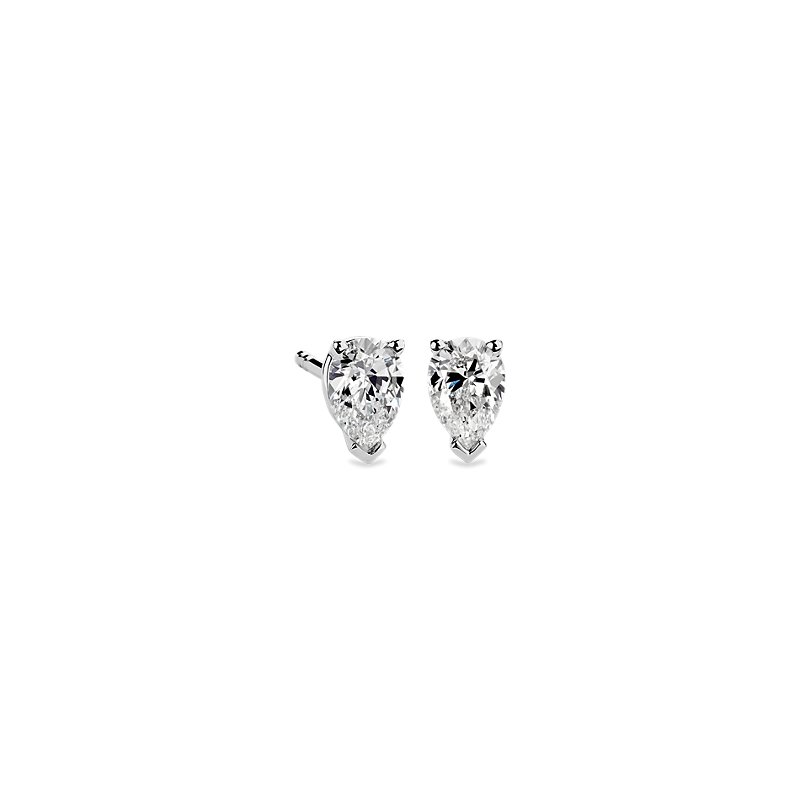 Pear Shape Diamond Stud Earrings in 14k White Gold (3/4 ct. tw.)