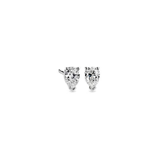 pear shape diamond stud earrings in 14k white gold 34 ct