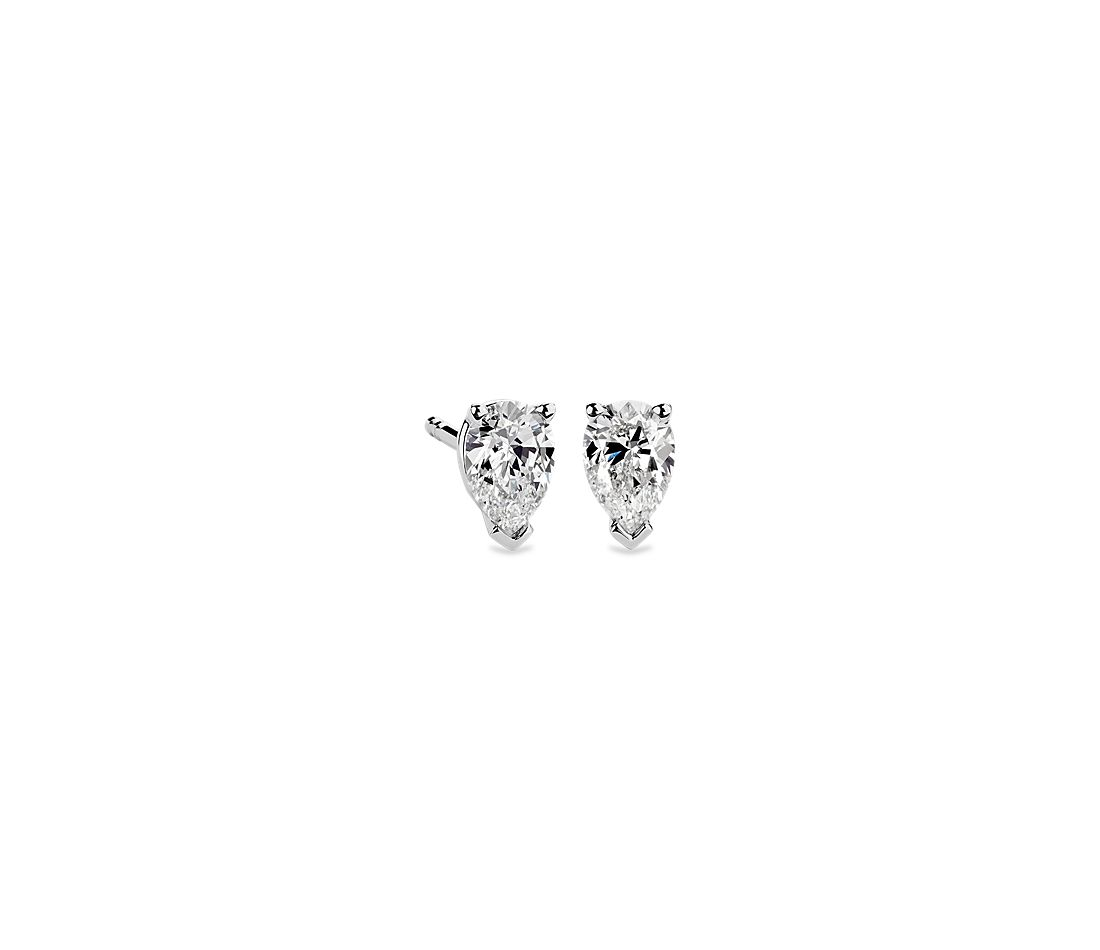 Pear Shape Diamond Stud Earrings In 14k White Gold 3 4 Ct Tw