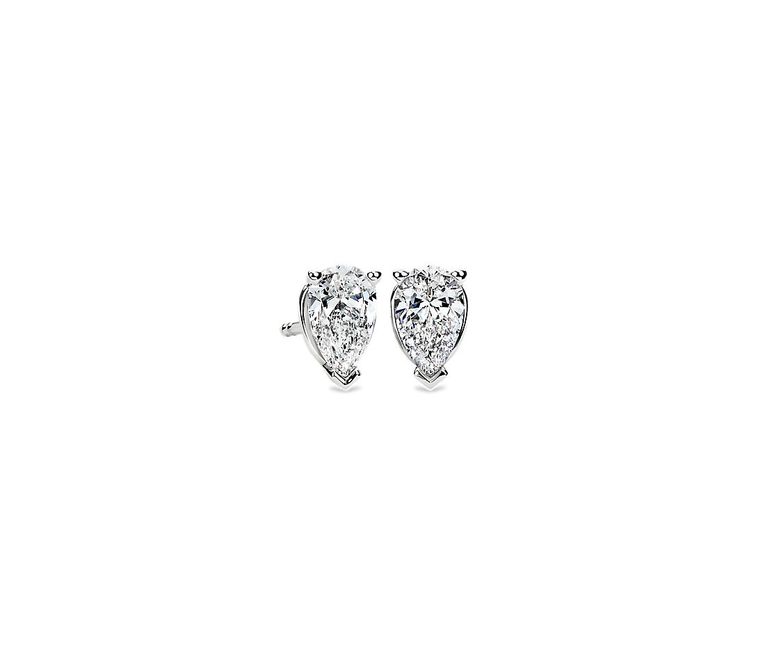 Pear Shape Diamond Stud Earrings In 14k White Gold 1 Ct Tw