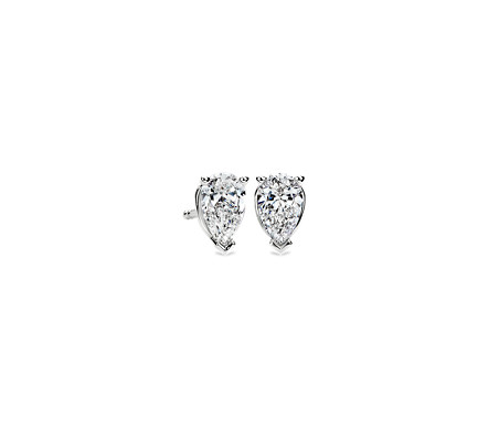 1 Carat Pear Shape Diamond Stud Earrings in 14k White Gold