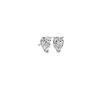 1-carat Pear Shape Diamond Stud Earrings in 14k White Gold